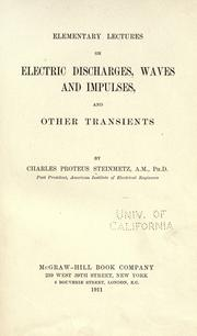 Cover of: Elementary lectures on electric discharges, waves and impulses