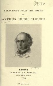 Cover of: Selections from the Poems of Arthur Hugh Clough