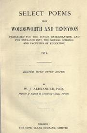 Cover of: Select poems from Wordsworth and Tennyson