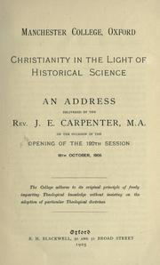 Cover of: Christianity in the light of historical science