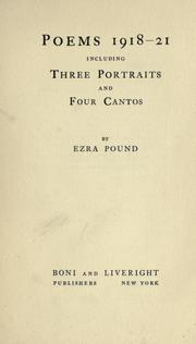 Cover of: Poems 1918-21: including three portraits and four cantos