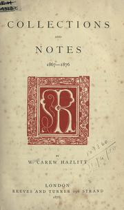 Cover of: Collections and notes, 1867-1876