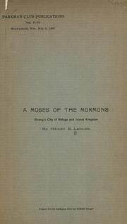 Cover of: A Moses of the Mormons