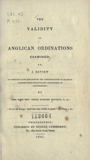 Cover of: The validity of Anglican ordinations examined