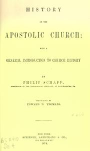 Cover of: History of the apostolic church: with a general introduction to church history