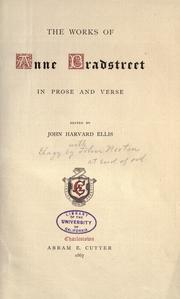 Cover of: The works of Anne Bradstreet
