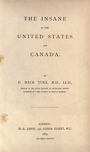 Cover of: The insane in the United States and Canada