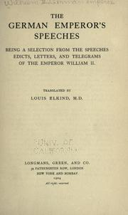 Cover of: The German emperor's speeches by William II German Emperor