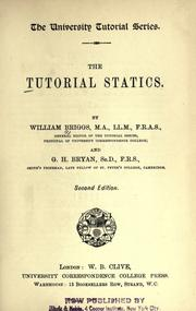Cover of: The tutorial statics