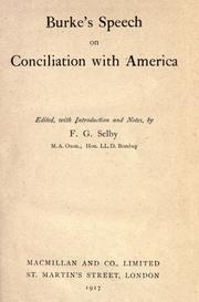 Cover of: Speech on conciliation