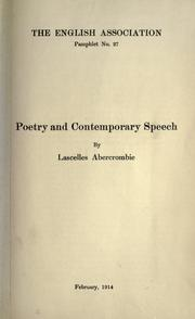 Cover of: Poetry and contemporary speech