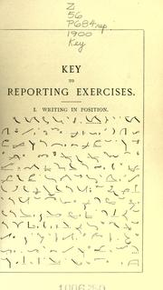 Cover of: Key to reporting exercises in the reporting style of Pitman