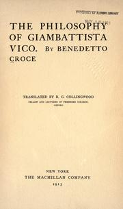 Cover of: Filosofia di Giambattista Vico