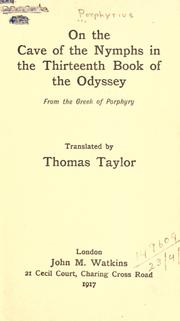Cover of: On the cave of the nymphs in the thirteenth book of the Odyssey