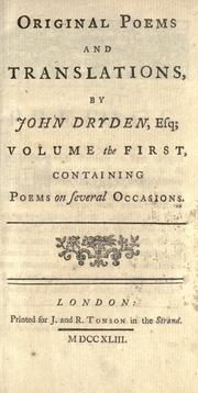 Cover of: Original poems and translations