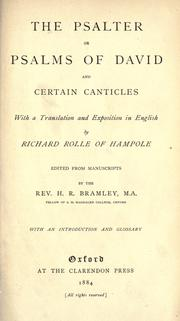 Cover of: The Psalter of the Psalms of David and certain canticles with a translation and exposition in English |