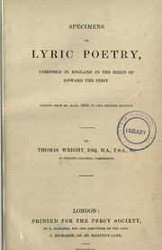 Cover of: Specimens of lyric poetry