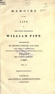 Cover of: Memoirs of the life of the right honorable William Pitt | George Pretyman