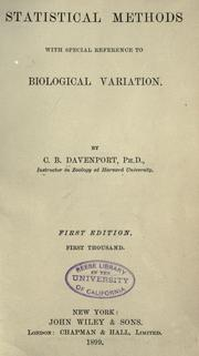 Statistical methods by Charles Benedict Davenport