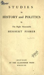 Cover of: Studies in history and politics