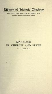 Cover of: Marriage in church and state