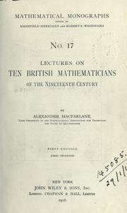 Cover of: Lectures on ten British mathematicians of the nineteenth century