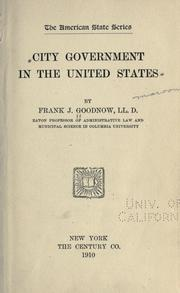 Cover of: City government in the United States