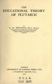 Cover of: The educational theory of Plutarch