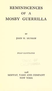 Cover of: Reminiscences of a Mosby guerilla