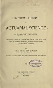 Cover of: Practical lessons in actuarial science