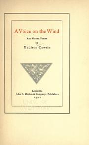 Cover of: A voice on the wind: and other poems