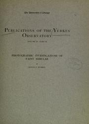 Cover of: Photographic investigations of faint nebulae