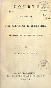 Cover of: Doubts concerning the battle of Bunker's Hill | Hudson, Charles