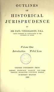 Cover of: Outlines of historical jurisprudence