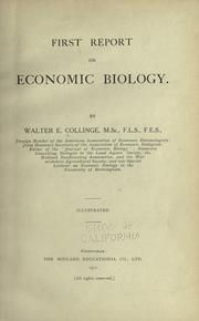 Cover of: Report on economic biology