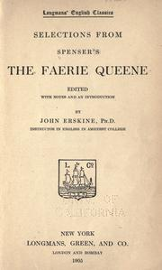 Cover of: Selections from Spenser's The faerie queene