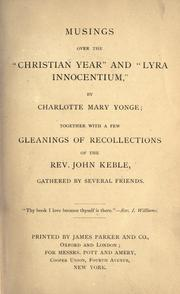"Cover of: Musings over the ""Christian year"" and ""Lyra innocentium"""