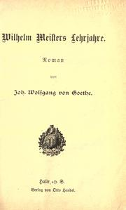 Cover of: Wilhelm Meisters Lehrjahre
