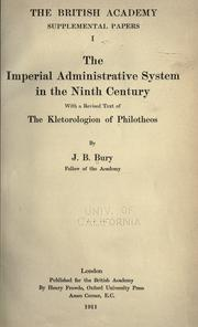 Cover of: The  imperial administrative system in the ninth century | J. B. (John Bagnell) Bury