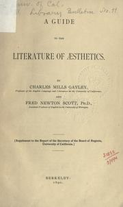 Cover of: A guide to the literature of aesthetics