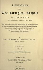 Cover of: Thoughts upon the liturgical Gospels