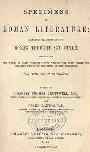 Cover of: Specimens of Roman literature