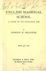 Cover of: The English madrigal school