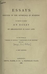 Cover of: Essays written in the intervals of business
