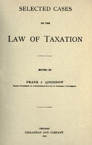 Cover of: Selected cases on the law of taxation
