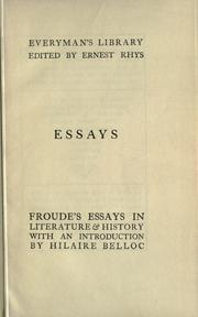 Cover of: Essays in literature & history