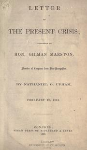 Cover of: Letter on the present crisis