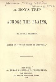 Cover of: A boy's trip across the plains