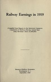 Cover of: Railway earnings in 1919