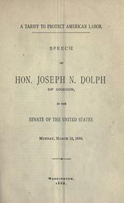 Cover of: A tariff to protect American labor